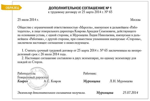 образец дополнительного соглашения с директором о продлении срока трудового договора