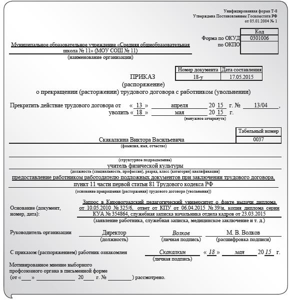 Заявление на увольнение по статье 81 тк