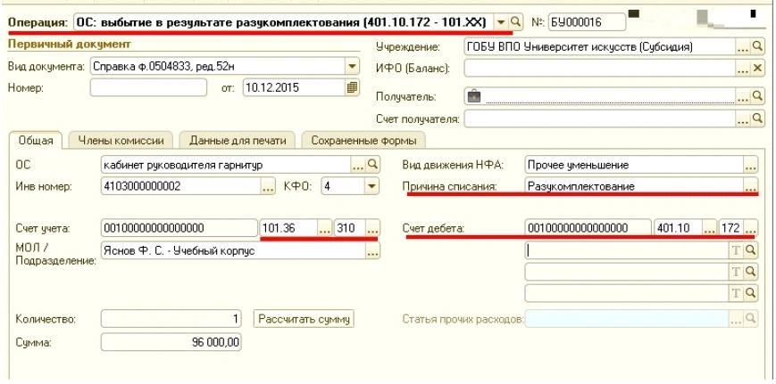Разукомплектация основного средства проводки в бюджете